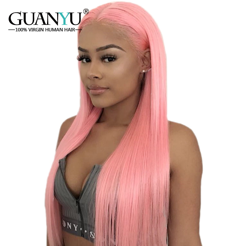 Guanyuhair Pre plucked Pink Lace Front Wigs Straight Peruvian Remy Human Hair 130 Density Free Part