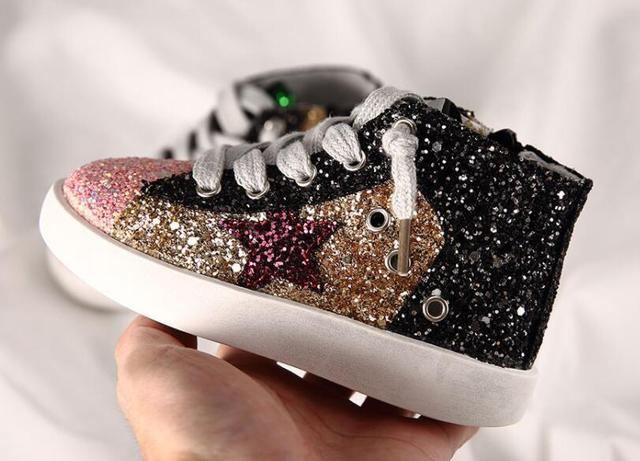 ce1abd8790 US $22.34 44% OFF|Children girl bling star casual shoes kids girl Glitter  shoe girls sport High Top sneakers baby girl Trainer Sequins shoes -in ...