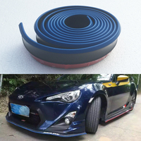 Universal Blue With Black Rubber Front lip Splitter Chin Spoiler Side Skirt Body Kit Trim 2.5Meters for Audi BMW Volkswagen Benz