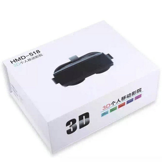 VR Box 3.0 Pro Glasses 46 for PC HMD-518 3D Private Mobile Cinema Theater 80 Inch 640*360 8G ROM High Resolution Double Lens 6