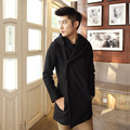 men hooded coats male 2017 autumn and winter fashion all-match with a hood popper wool coat