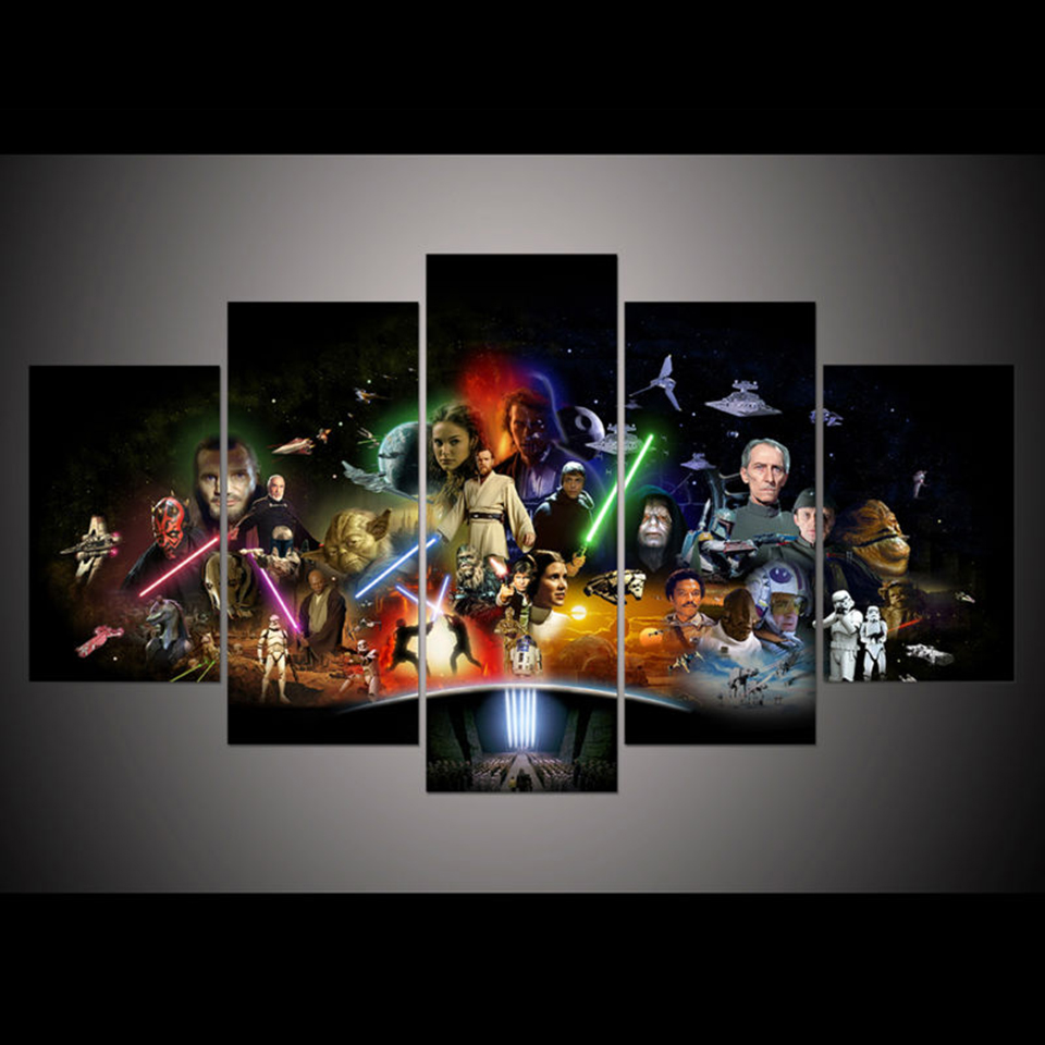 Home Decor Paintings Modular Modern Printed 5 Panel Printed Star Wars Movie Spaceship Tableau Wall Art Canvas Picture Posters image