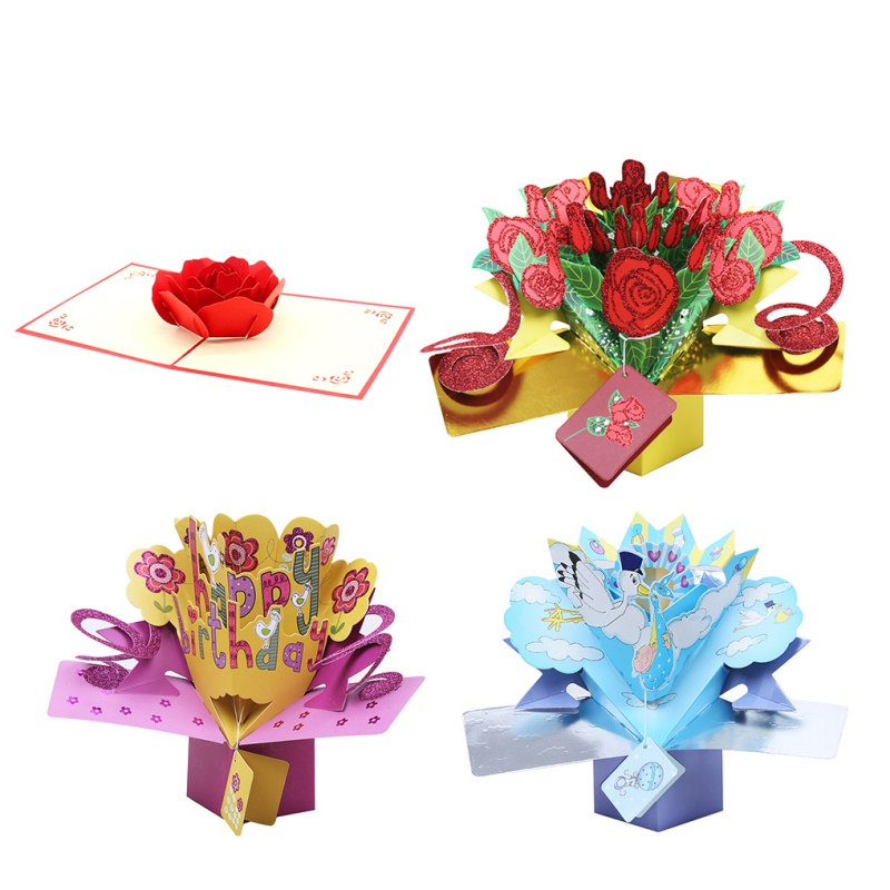 3D Pop UP Greeting Cards Fantastic Flower Handmade Gift Nature Love with Bunch of Roses Happy Birthday with Flowers Gift