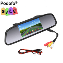 Podofo 4.3 Inch Car Rearview Mirror Monitor Parking Display 2 Video Input TFT LCD Color Parking Assistance Car Styling