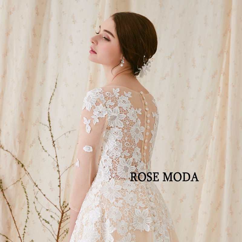 Купить с кэшбэком Rose Moda French Lace Wedding Dress with Long SLeeves Champagne Wedding Dresses with Ivory Lace Appliques Real Photos