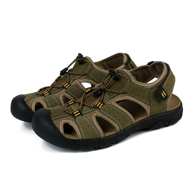 Men Sandals Leather Summer Hollow Breathable Non-slip Casual Outside Beach Shoes Cross-tied Decoration Male Sandals Size39-45
