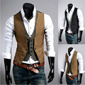 2016 New Mens Fashion Cotton Blazer Vests Slim Fit Two Pieces Plaid Waistcoat Suit Dress Breasted Vest Colete Masculin 6071902L
