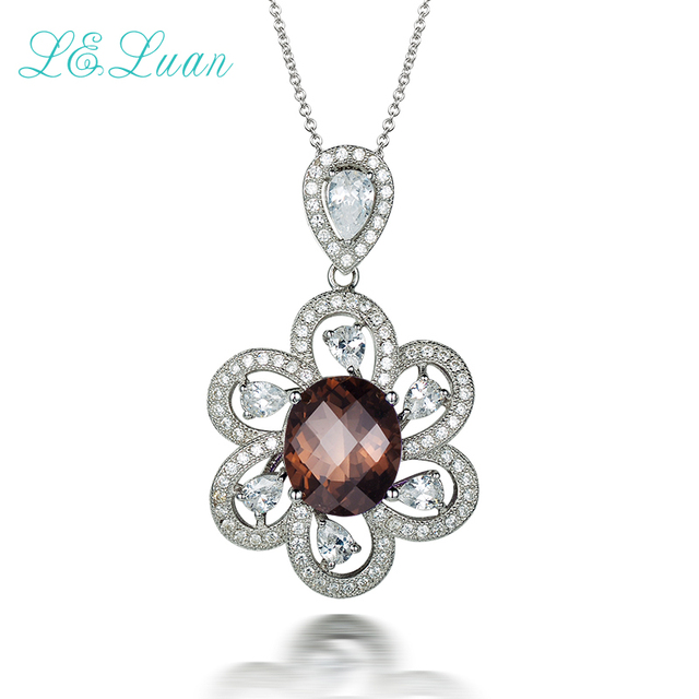 l&zuan 925 sterling silver Natural 4.89ct Smoky Crystal Brown Prong Setting Pendant with silver chain Christmas gif