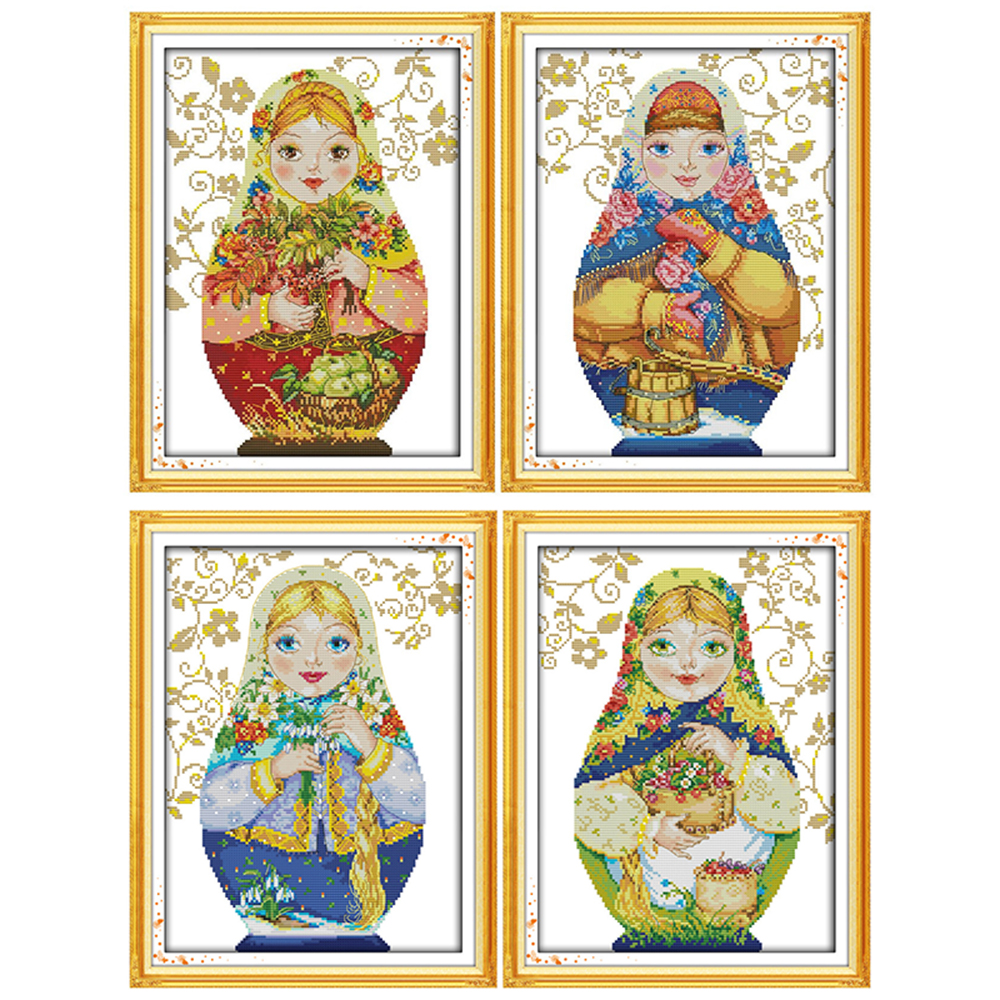Everlasting love Christmas Russian doll Ecological cotton Chinese cross stitch kits counted 11CT 14CT New store sales promotion