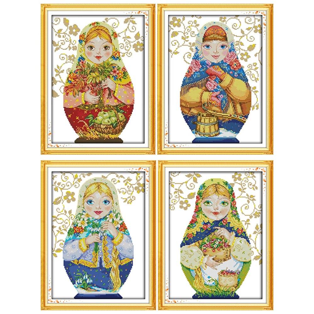 Ewige liebe Weihnachten Russische puppe Ökologische baumwolle Chinesische kreuz stich kits gezählt 11CT 14CT Neue store sales förderung