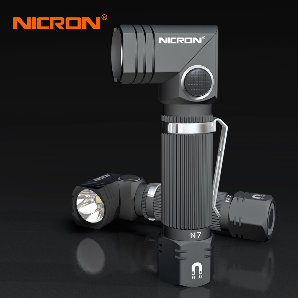 NICRON 2Pcs 90 Degree Twist Corner Flashlight Handfree Waterproof IP65 Dual Fuel 14500 Li-ion / AA Battery Magnetic LED Torch N7