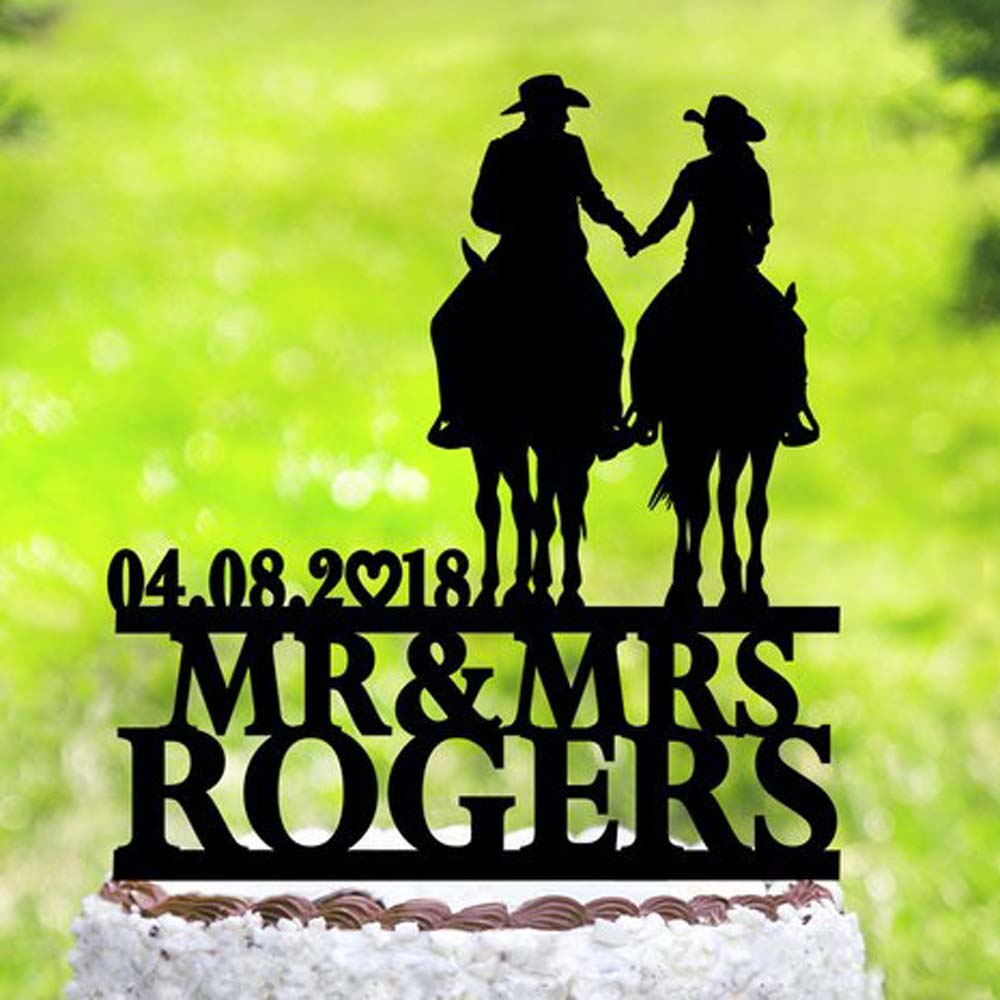 Personalized Bride and Groom with horse cake topper,Country Cowboy cake Topper,Horse Cowboy with Lasso,cake topper with datePersonalized Bride and Groom with horse cake topper,Country Cowboy cake Topper,Horse Cowboy with Lasso,cake topper with date
