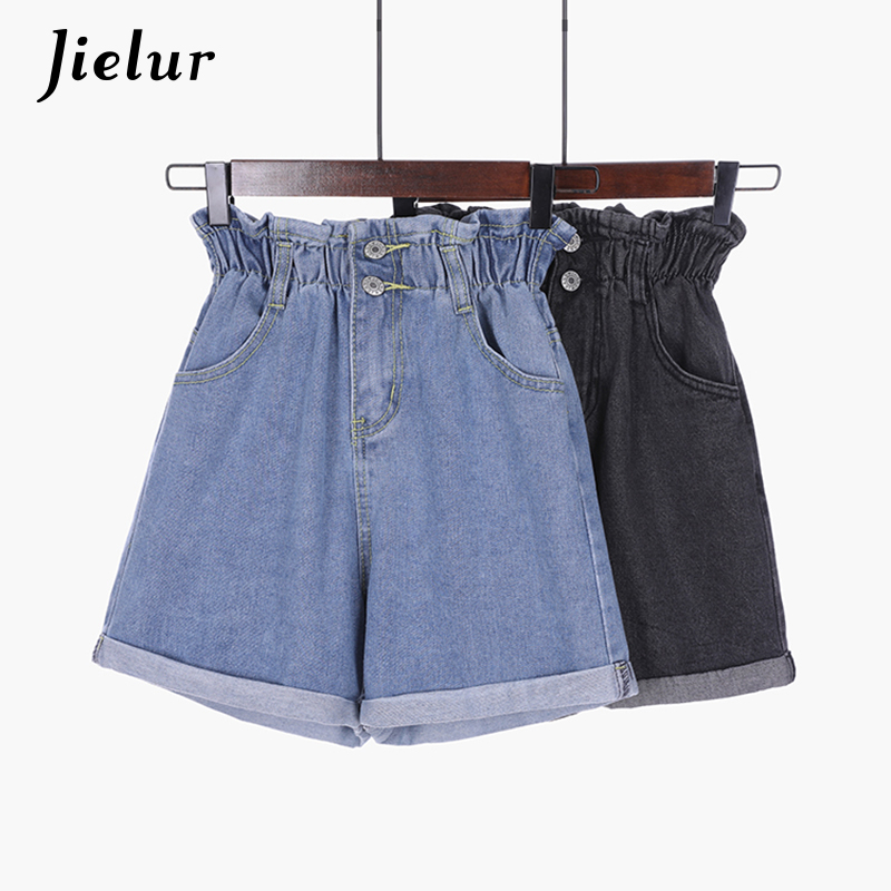 Jielur Korean S-5XL Blue Crimping Denim Shorts For Women 2019 Summer Trendy Slim Casual Plus Size Womens High Waist Shorts Black