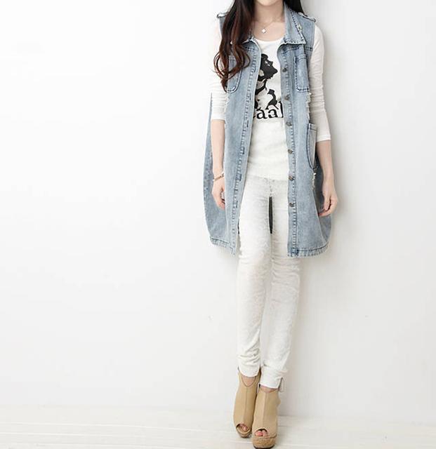 CHICD Autumn Street Clothing Loose Single Breasted Belt Plus Size Women Vintage Hole Denim Female Long Jeans Jacket Outwear XD11