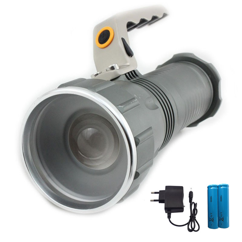 Long Range Searchlight ficklampa led ficklampa T6 uppladdningsbar kraftfull Flash Search Light Torch +18650 batteri + laddare