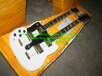 Left Handed guitars White 1275 Custom Shop Double Neck Electric Guitar 6/12 strings Gold Hardware