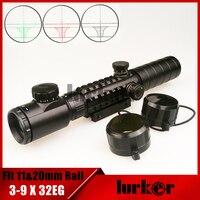 KINSTTA Tactical Optical Red Green Illuminated Riflescope 3 9X32 EG Rifle Scope Fit 11 20mm Weaver