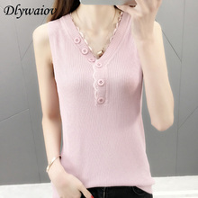 V-neck Knit Vest Women Top Casual Sleeveless Female 2019 Summer Solid Tank Elastic Femme Fashion Tops Lace Pink White Bottoming