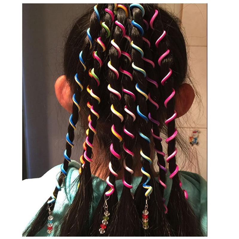 6pcs Cute Girls Headband Colorful Crystal Long Elastic Hair Bands   Headwear   Hair Accessories for Kids Hairbands Rainbow Color