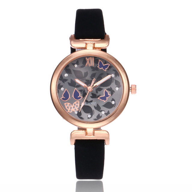 2018 Fashion Women Bracelet Watch Famous Brand Ladies Butterfly Leather Analog Q