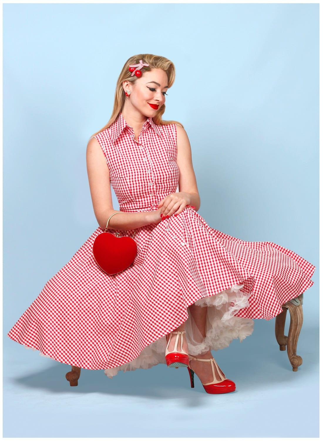 US $51.74 31% OFF|30 summer women vintage 50s country girl style gingham  swing shirt dress in red rockabilly pinup tank dresses plus size vestido-in  ...