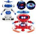 Sci-fi 360 Girando Crianças Eletrônico Andando Dança Espaço Robô Inteligente Garoto Legal Modelo Astronauta Luz Música Brinquedos de Natal presente