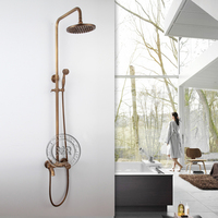 Free shipping bronze shower Brass Shower Faucet Set Single Ceramic antique brass shower head HY 701