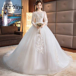 Это YiiYa свадебное платье es 2019 цветочное Бисероплетение Шлейф Свадебное платье с круглым вырезом со шлейфом Свадебное платье Vestidos De Novia Casamento