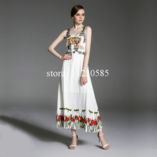 2016 S&S White/Black Tiger Head Embroidery Solid Flowers Long Women Dress Spaghetti Straps Brand Same Style Runway Dress  62867