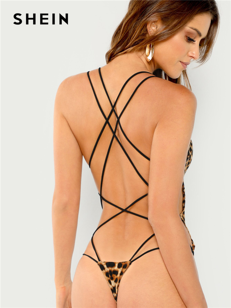 SHEIN Multicolor Sexy Party Strappy Back Slim Fitted Solid Night Out Bodysuit 2018 Summer Sexy Women Bodysuits