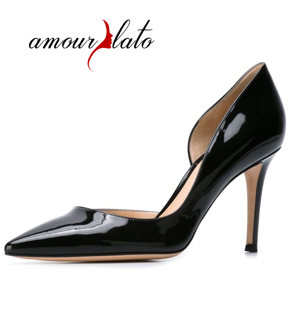 Amourplato Women's 80mm Thin Heel d'Orsay Pumps Spike Heel Closed Toe Pointy Toe Cut Out Patent Shoes Office Work Dress Shoes amourplato women s fashion pointed toe high heel sandals crisscross strap pumps pointy dress shoes black purple size5 13