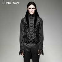 PUNK RAVE Gothic Fake Two Swallow Tail Sleeveless Velveteen Vest Tank Tops Aristocrat Palace Floral Single