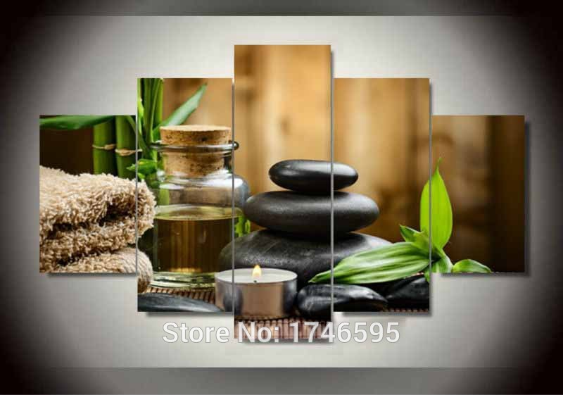 5pcs modern home decor living room decor spa stone bamboo candles ...
