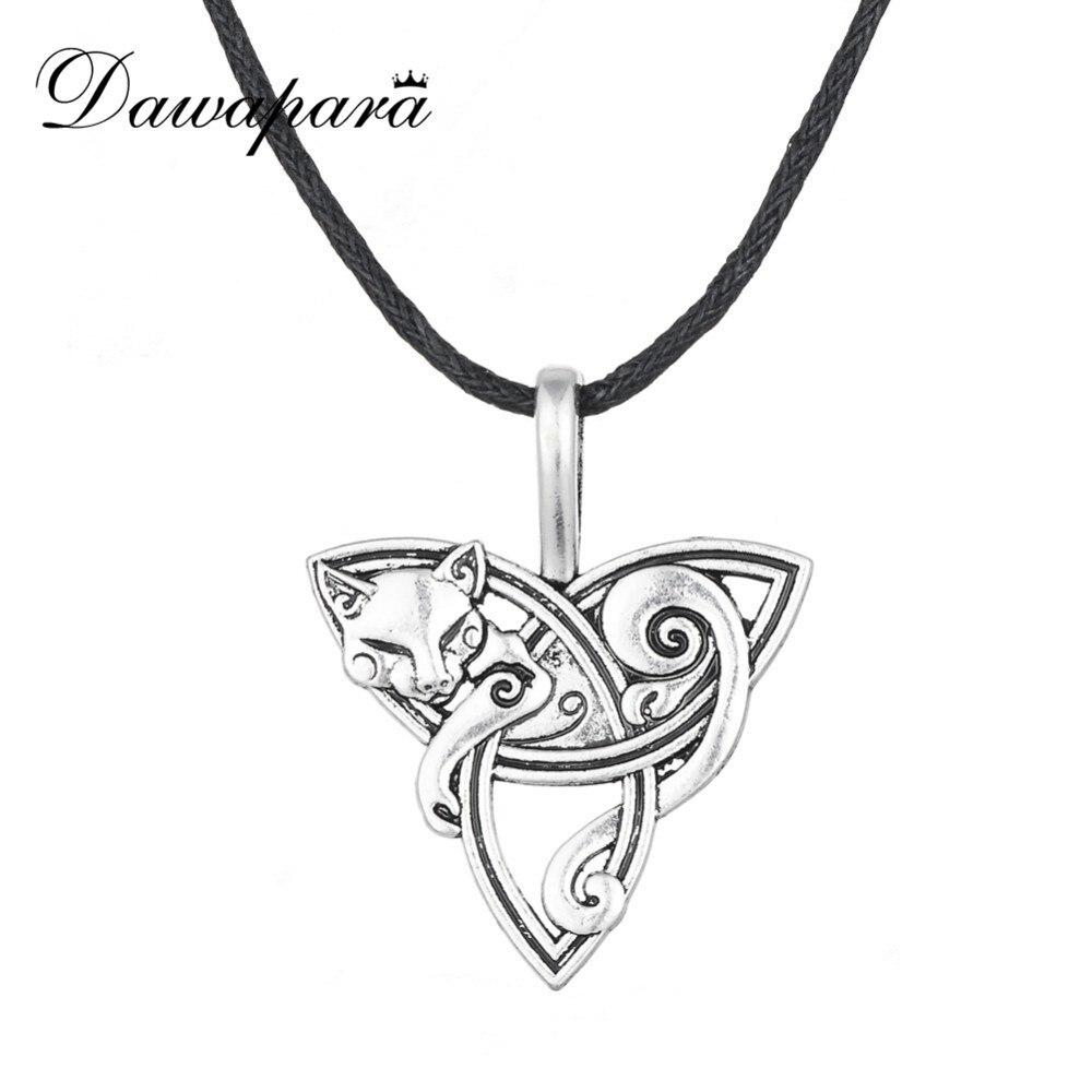 Dawapara Viking Necklace Fox Triquetra Fenrir Animal Pendant Necklace Men Fashion Jewelry Supernatural Amulet Knot