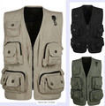 2015 New High Quality Summer Autumn Vest Photographer Jacket With Multiple Pocket Vest Plus Size Gilet Men