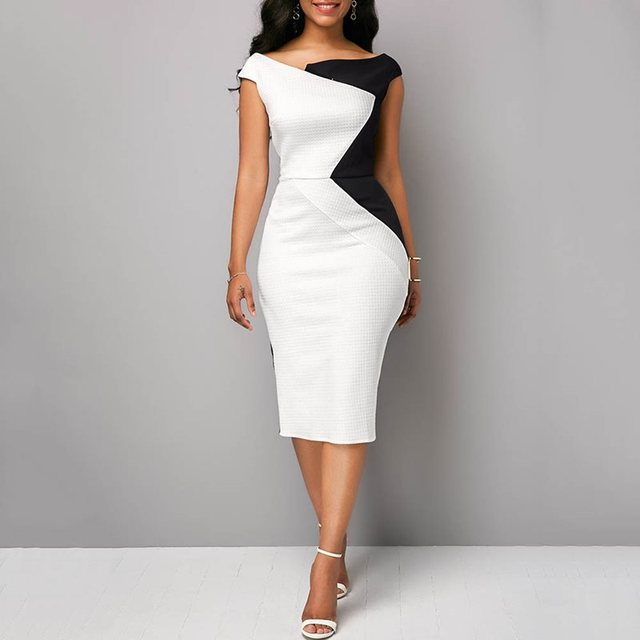 Summer Vintage Sexy Party White Plus Size African Women Midi Dresses Pencil Bodycon Office Ladies Chic Purple Fashion Dress 2019