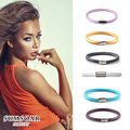 2016 Sumsoar Jewelry 20cm Single Layer Leather Warp Bracelet 6 Colours Bands Mixed fit Story Charms for Valentine's day