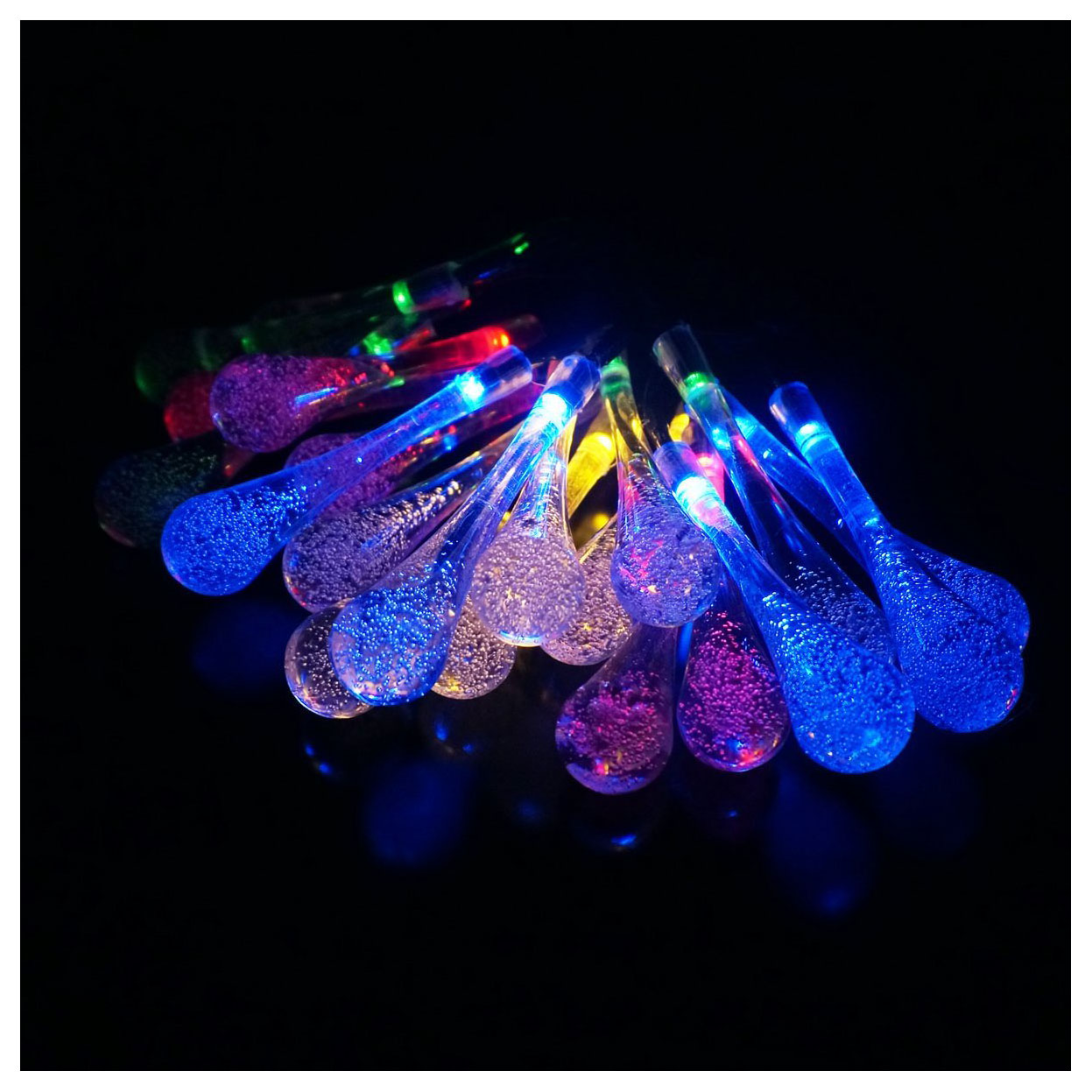 NFLC-Long Droplets Solar LED String Lights with Garden Solar Panel, for Garden, Patio, Christmas Tree, Parties and All Outdoor