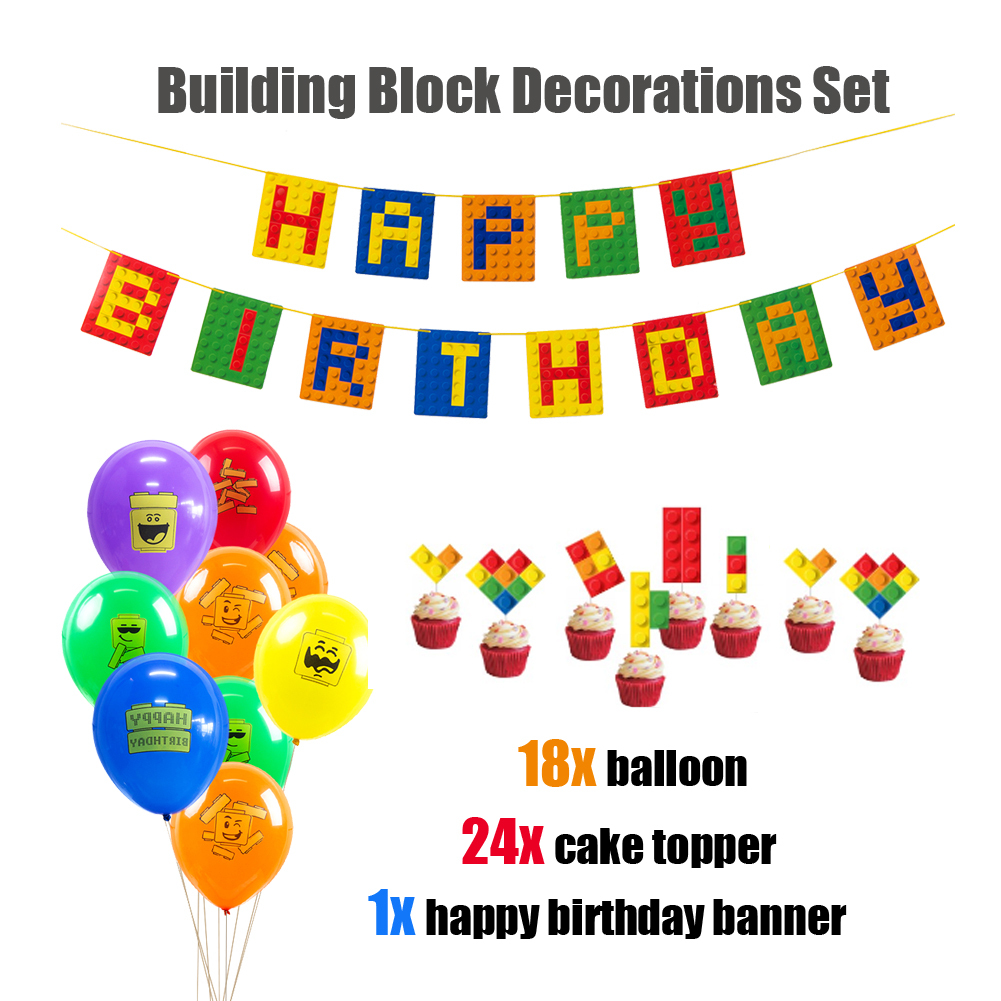 Brick Theme Party Decor Latex Balloons Happy Birthday Banner Cake Topper Building Block Kids Brick and Block Decorations in Party DIY Decorations from Home Garden