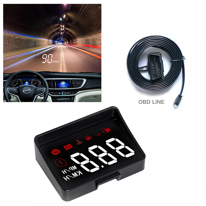 GEYIREN HUD A100s Head Up Display Overspeed Warning Windshield Projector On Board OBD Scanner With Lens Hood Universal Auto HUD