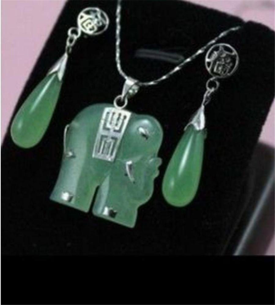 fine Lovely Wonderful Beautiful green gem elephant Jewellery necklace Pendant earring Set gem women's jewelry silver