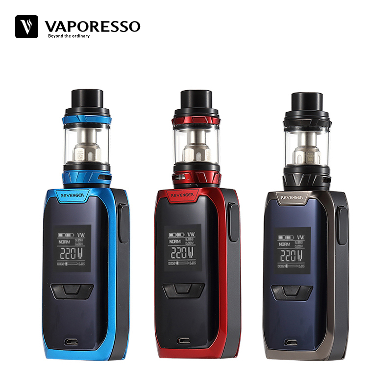 Original Vaporesso Revenger Kit Electronic Cigarette Vape E-Cig with 220W Multi Modes 510 Revenger Mod and NRG Tank Use GT Coils