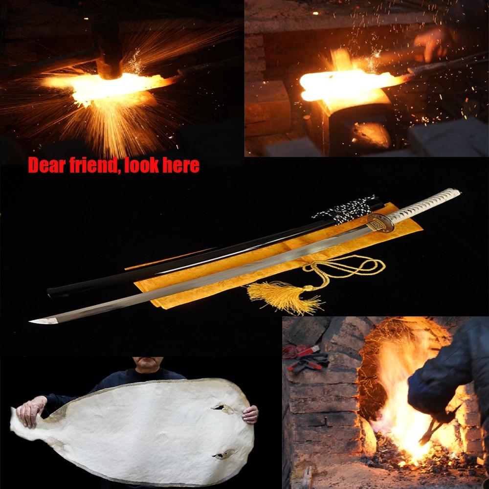 Katana samouraï japonais fait à la main épée T10 acier pleine pince forte couverture dure lame brûlante pour faux quelque chose d'antique
