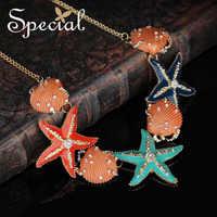 Especial nova moda gargantilhas colares & pingentes esmalte concha starfish colar de declaração de jóias de verão presentes para mulher xl0012