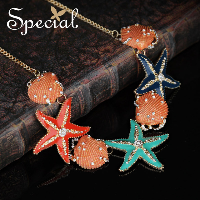 Special New Fashion Chokers Necklaces & Pendants Enamel Shell Starfish Statement Necklace Summer Jewelry Gifts for Women XL0012