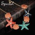 Special nova moda gargantilhas colares & pingentes esmalte estrelas do mar shell colar declaração de presentes da jóia de verão para as mulheres xl0012