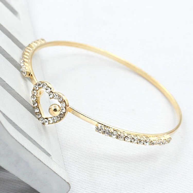 צמידי צמיד קריסטל קשתות אהבת לב זהב