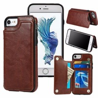 Slim Leather Wallet Credit Card Holder Stand Back Cover Case For IPhone 5 5S Se 6