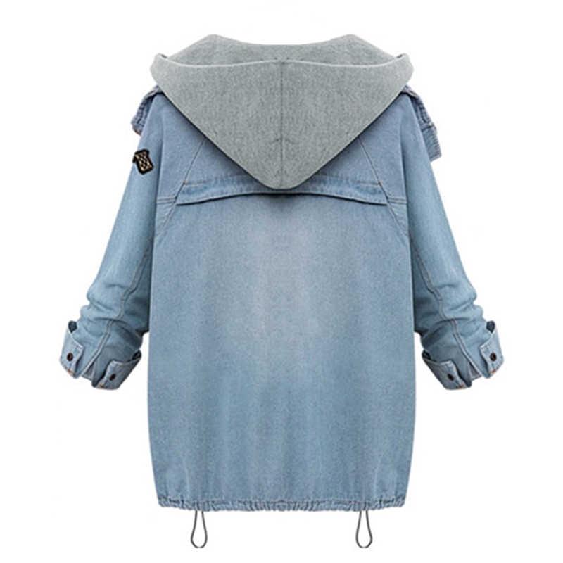 2019 женская джинсовая куртка пальто Женская мода Джинсовая куртка женская Свободная куртка-бомбер съемная 2 шт. комплект Chaquetas Mujer