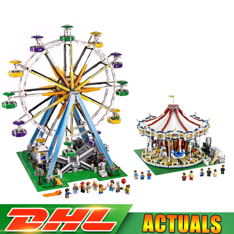 LEPIN 15013 City Street Grand Carousel 15012 Ferris Wheel Model Building Blocks Brick Toys Compatible LegoINGlys 10196 10247 lepin 15013 city street carousel model building kits assembling blocks toy legoing 10196 educational merry go round gifts
